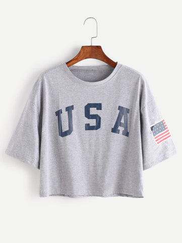 American Flag Letter Print Drop Shoulder T-Shirt
