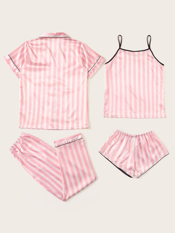 4 Pieces Striped Satin Pajama Set