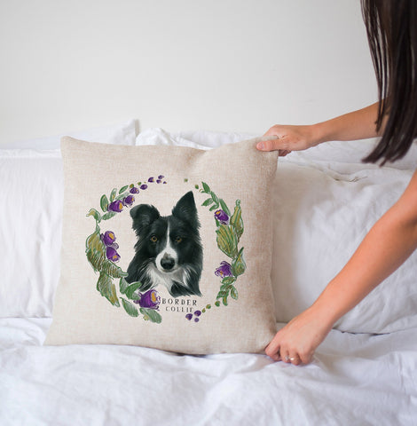 Floral Wreath Pillow - Border Collie