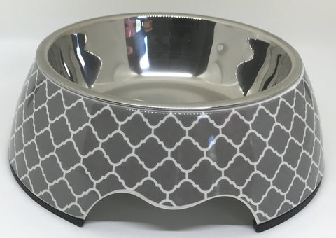 Modern Gray Medium Dog Bowl