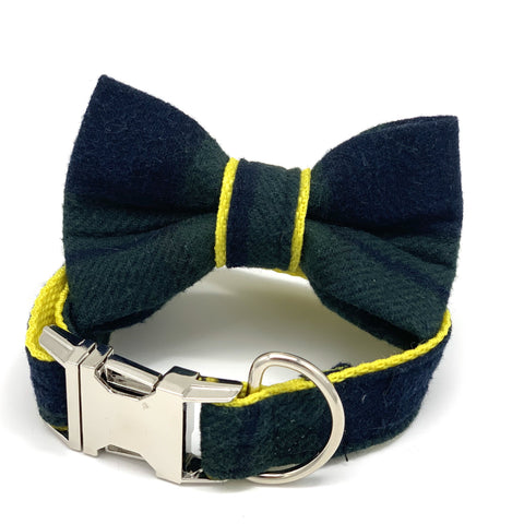 Classic Tartan Dog Collar Bow Tie Set