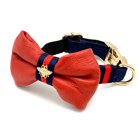 Genuine Red Leather & Navy Denim Dog Collar & Bow Tie Set