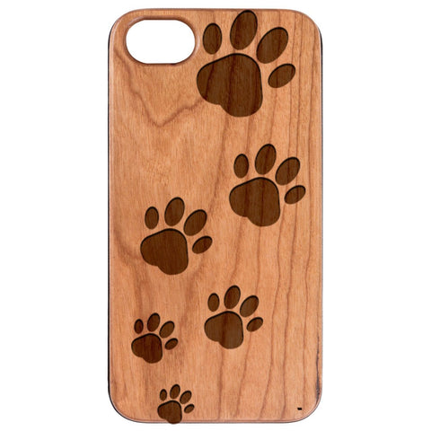 iPhone 12 Dog Paws Engraved Wooden Case