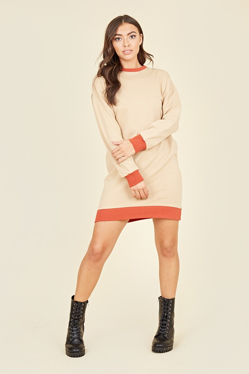 Beige & Rust Sweater Dress