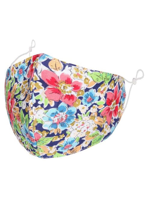 Navy Multi Floral Face Mask