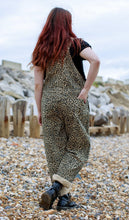 Load image into Gallery viewer, Run & Fly Natural Leopard Print Stretch Twill Dungarees