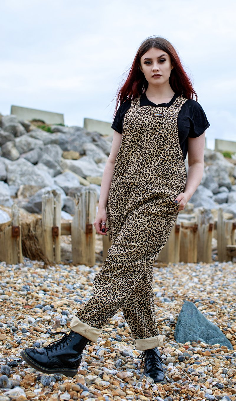 Run & Fly Natural Leopard Print Stretch Twill Dungarees