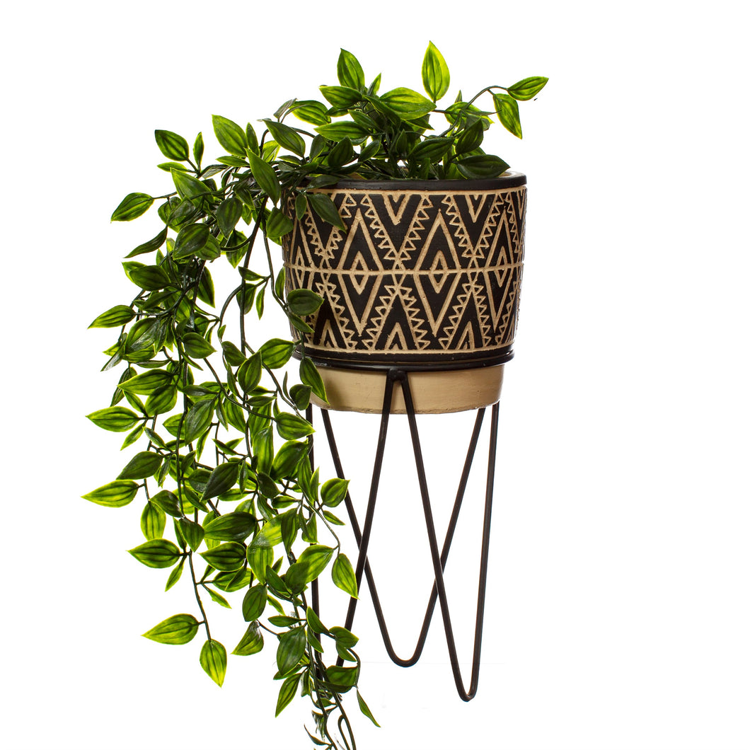 Monochrome Planter with Wire Stand