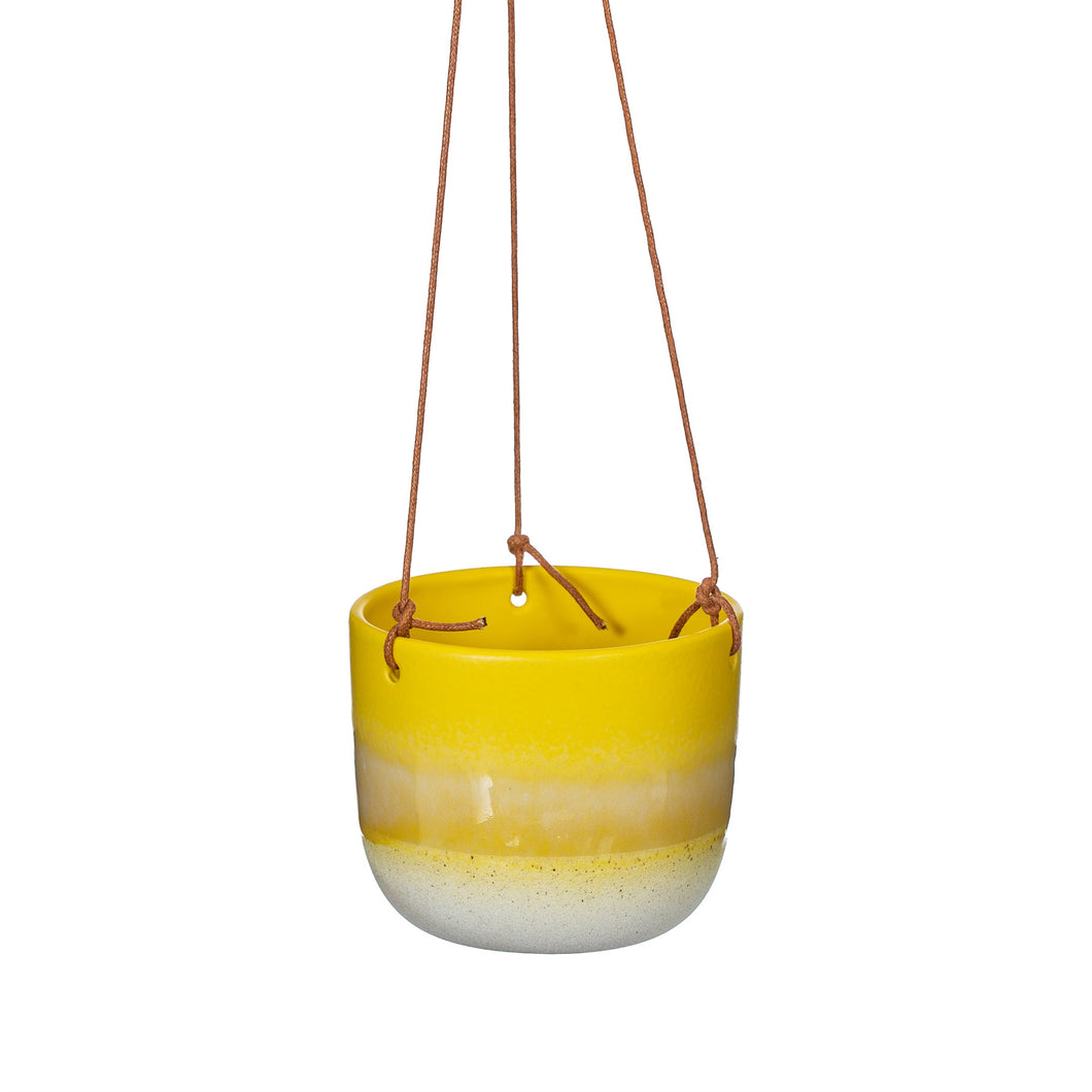 Yellow Mojave Glaze Hanging Planter