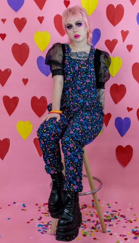 Run & Fly Cotton Twill Stretch '90s Memphis Print Dungarees