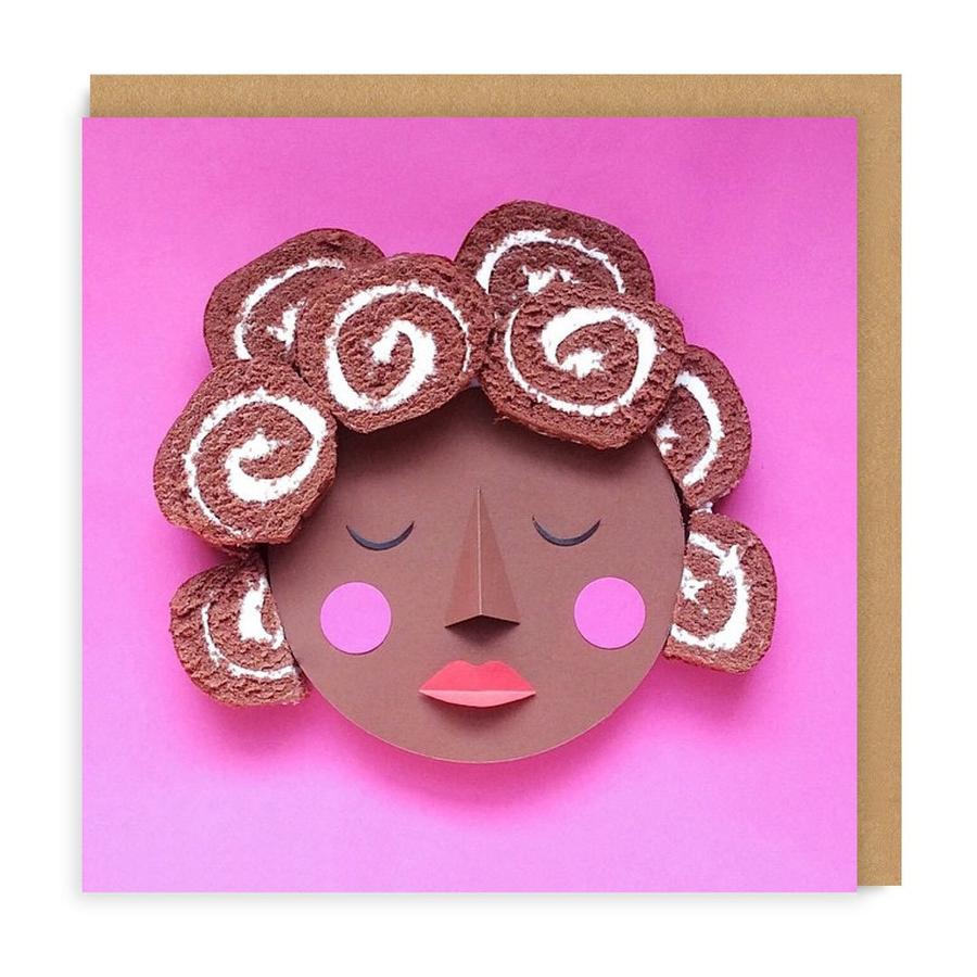 Swiss Roll Square Greetings Card