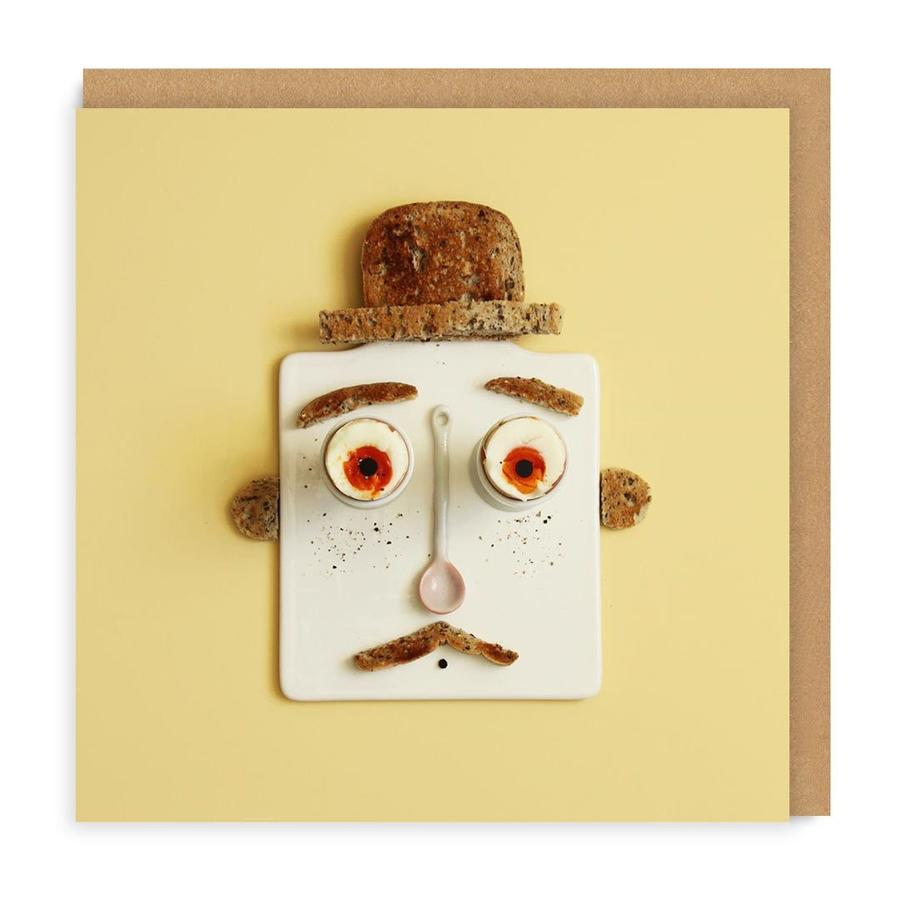 Eggs and Toast Face Square Greetings Card