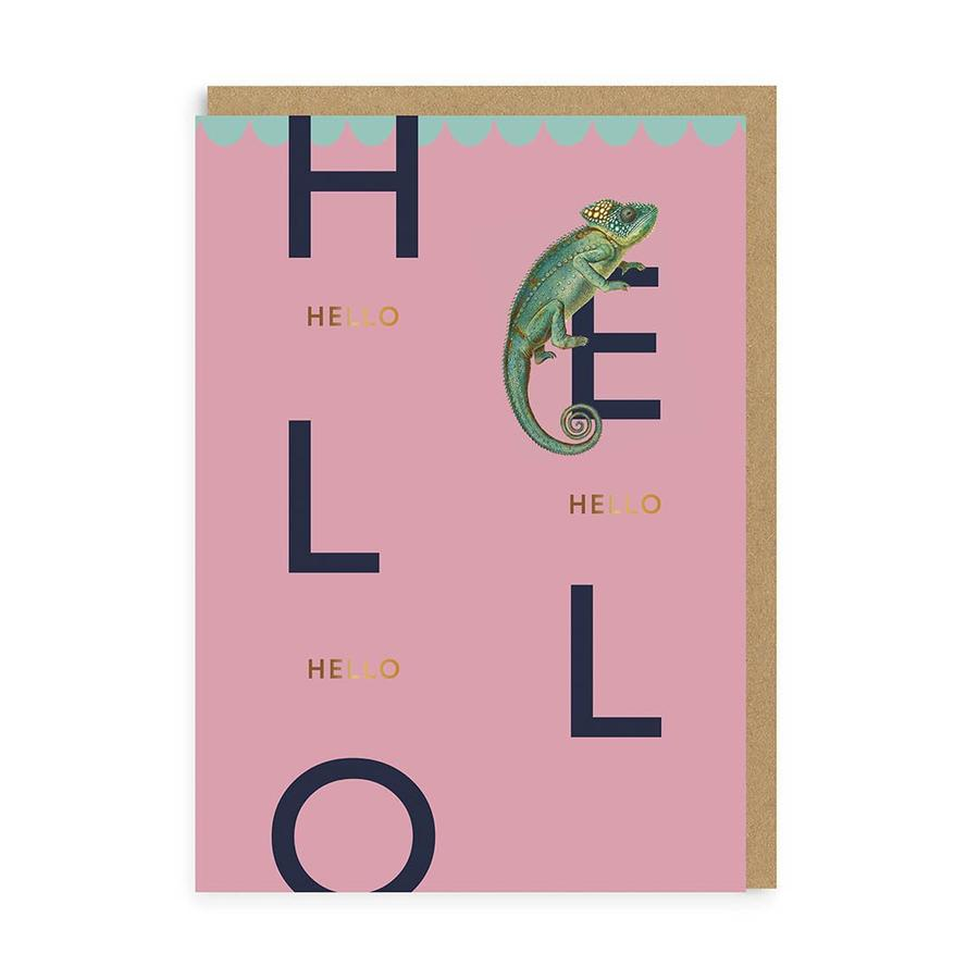 Hello Chameleon Greetings Card