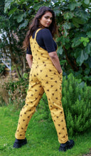 Load image into Gallery viewer, Run & Fly Gold Bee Print Stretch Twill Dungarees