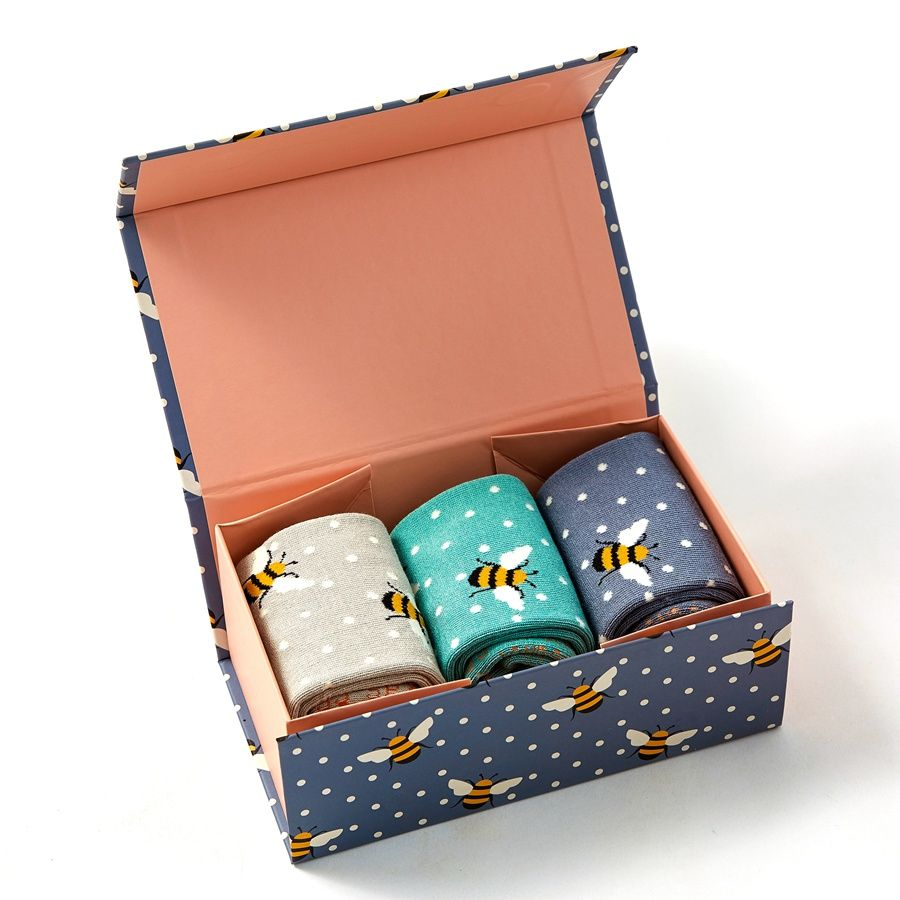 Miss Sparrow Set of 3 Bee Print Bamboo Socks