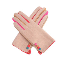 Load image into Gallery viewer, Pink Herringbone Gloves