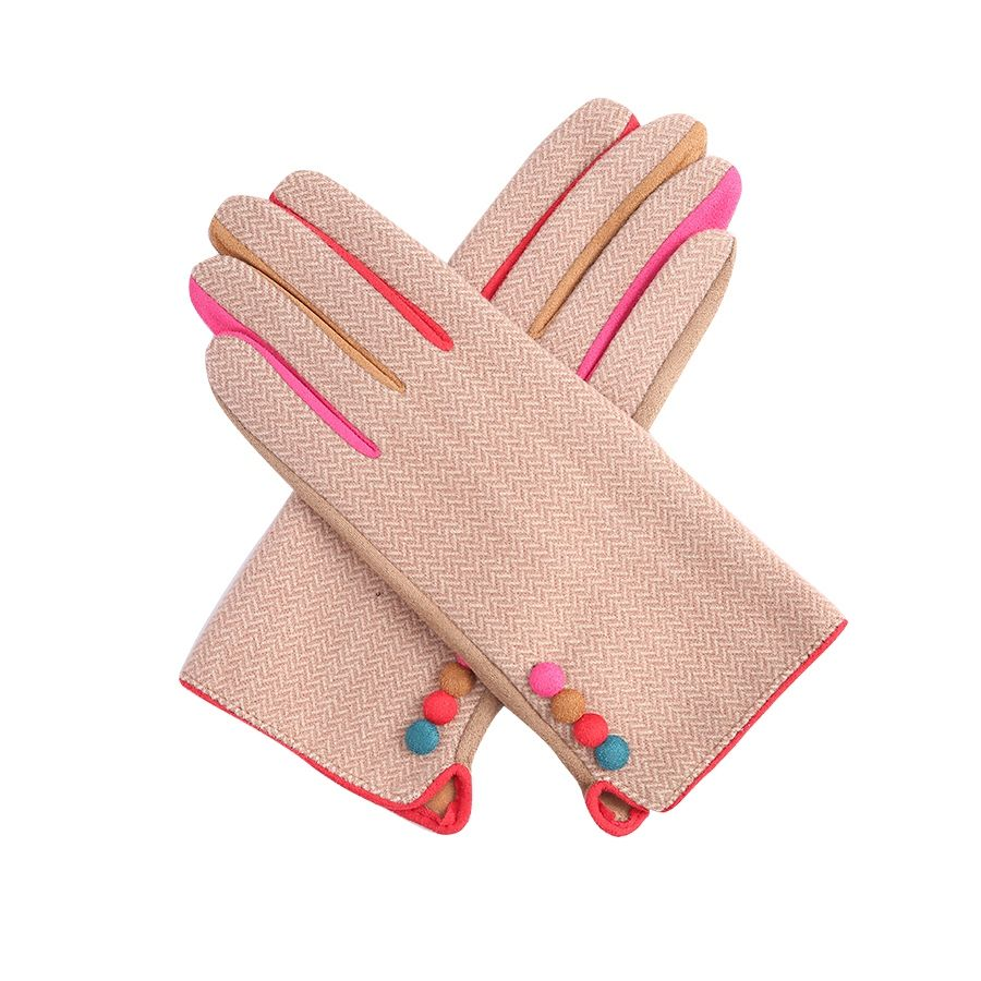 Pink Herringbone Gloves