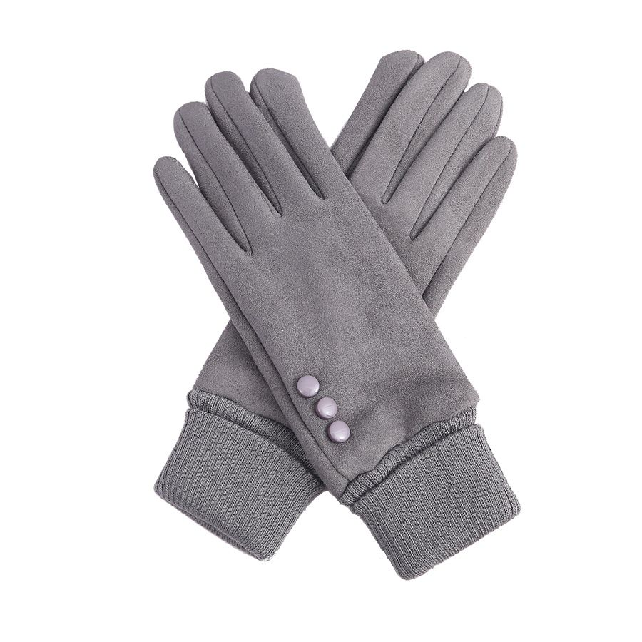 Grey Cuffed Gloves