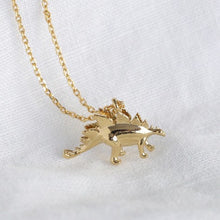 Load image into Gallery viewer, Gold Stegosaurus Necklace