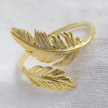 Load image into Gallery viewer, Adjustable Gold Double Feather Ring