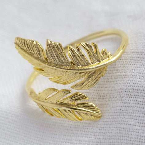 Adjustable Gold Double Feather Ring