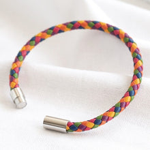 Load image into Gallery viewer, Slim Rainbow Braided Leather Bracelet