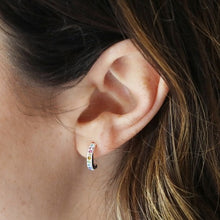 Load image into Gallery viewer, Sterling Silver Rainbow Crystal Hoop Studs