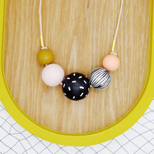 Load image into Gallery viewer, Black/White/Mustard Bead Necklace