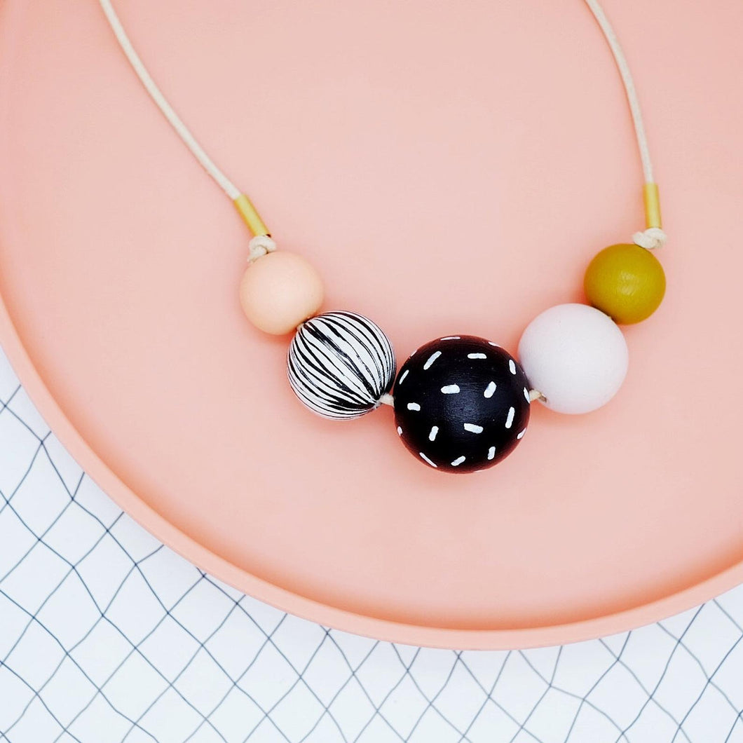 Black/White/Mustard Bead Necklace
