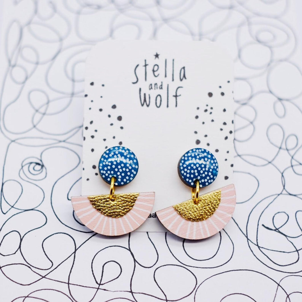 Pink and Mid Blue Semi Circle Drop Earrings