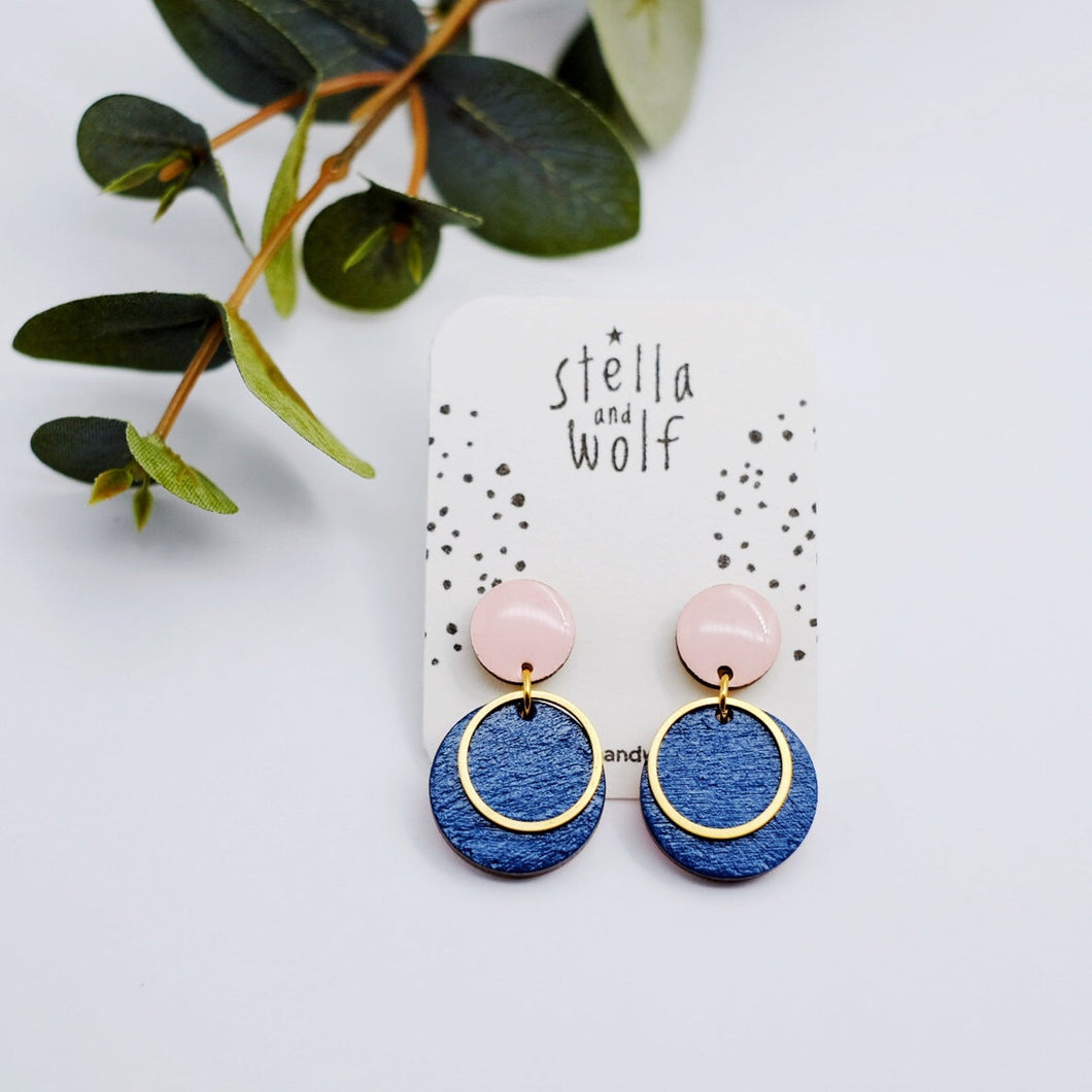 Pink and Mid Blue Disc Drop Earrings