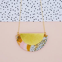 Load image into Gallery viewer, Mustard and Pink Half Circle Necklace