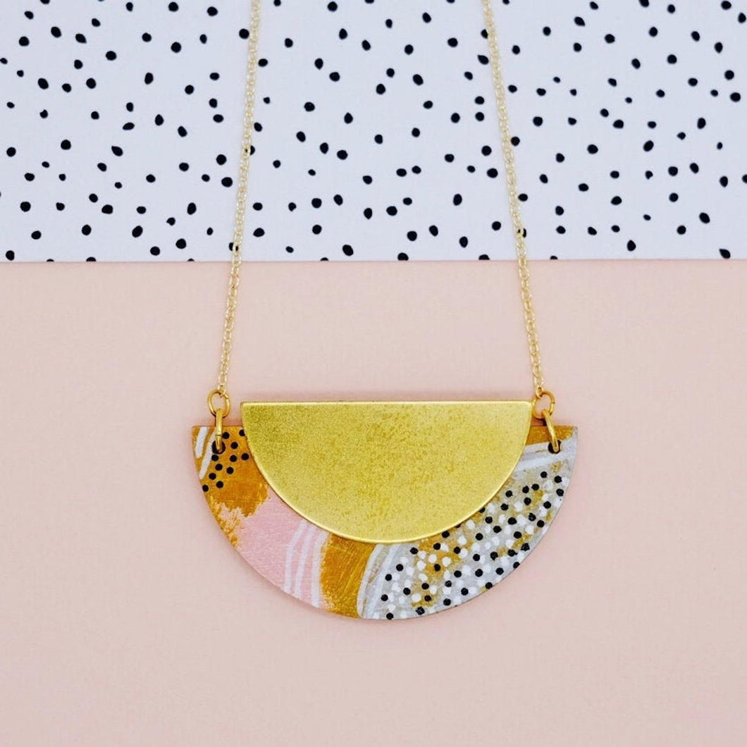 Mustard and Pink Half Circle Necklace