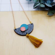 Load image into Gallery viewer, Teal, Terracotta and Mustard Tassel Necklace