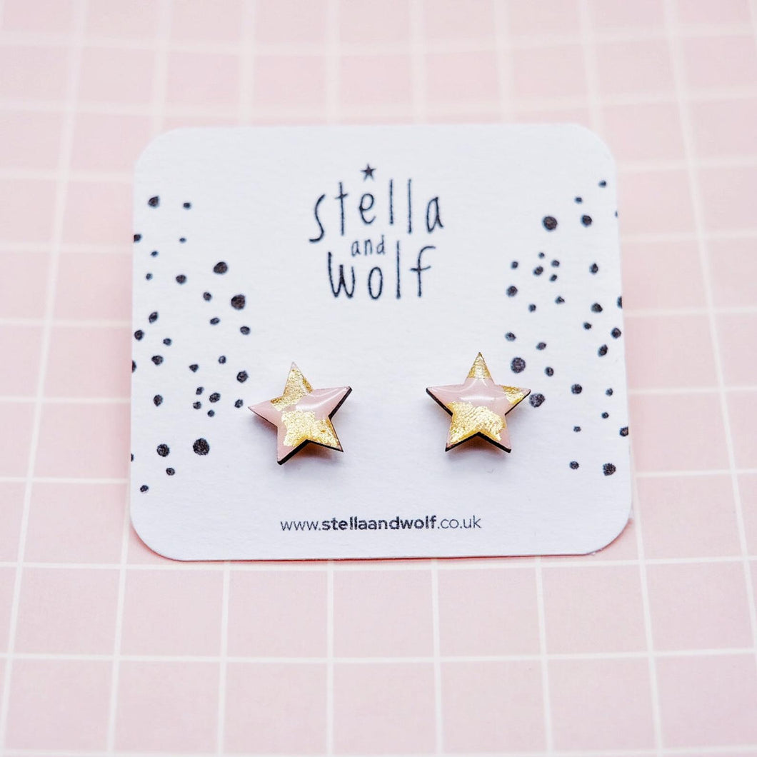 Pink/Gold Star Studs