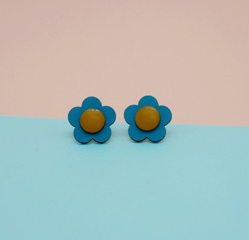 Ochre and Blue Flower Studs