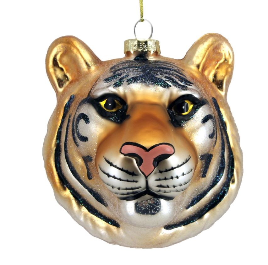 Painted Glass Tiger Head Decoration