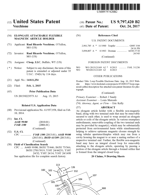 Cloop Patent First Page 9797420