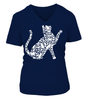 Tee shirt femme col V silhouettes de chats