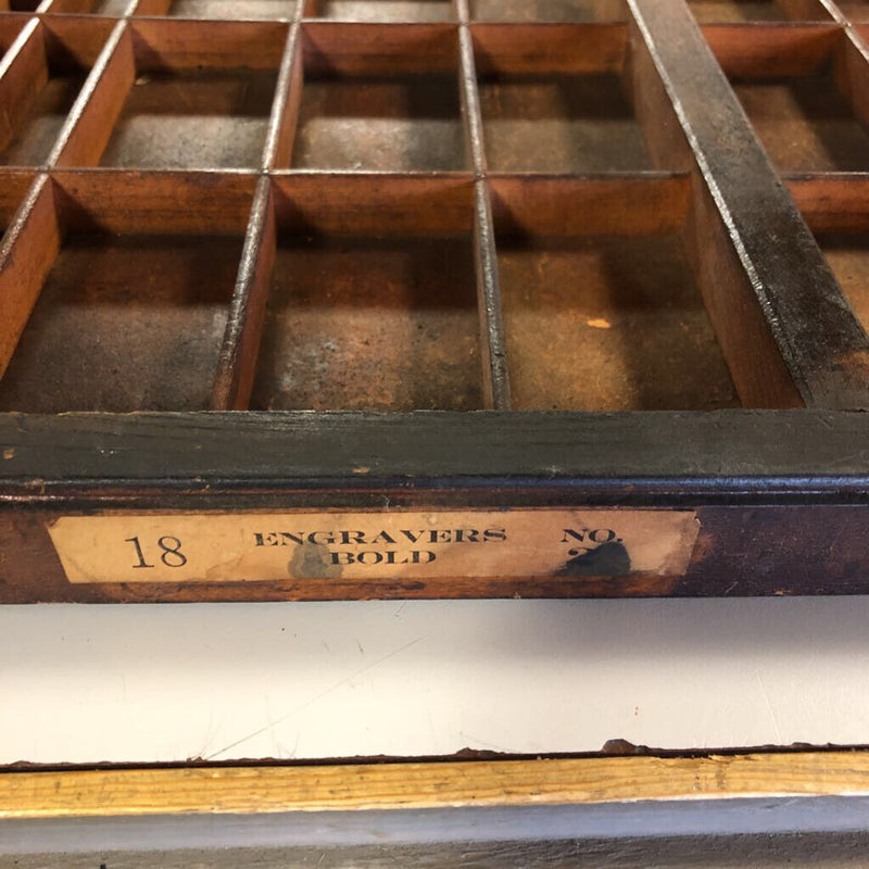 Antique Printing Tray 32.25 x 16.25 x 1.75