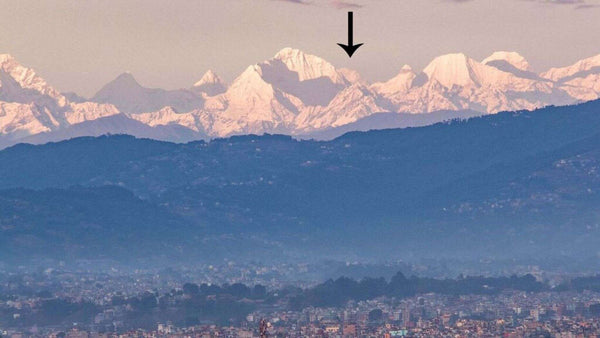View of the snowy peaks of the Himalayas including Mount Everest
