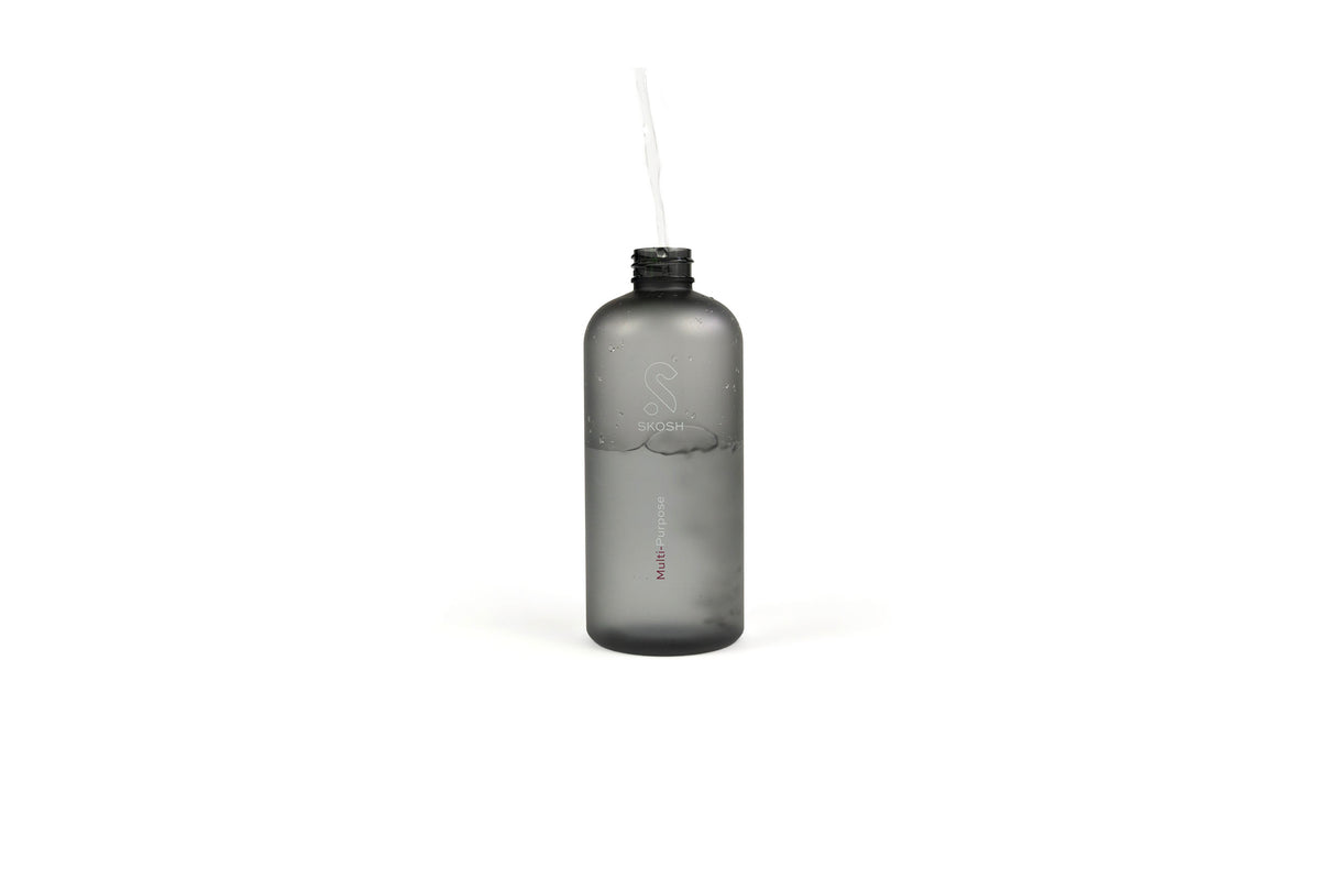Fill your reusable Skosh bottle made from 100% recycled plastic with 500 ml of tap water