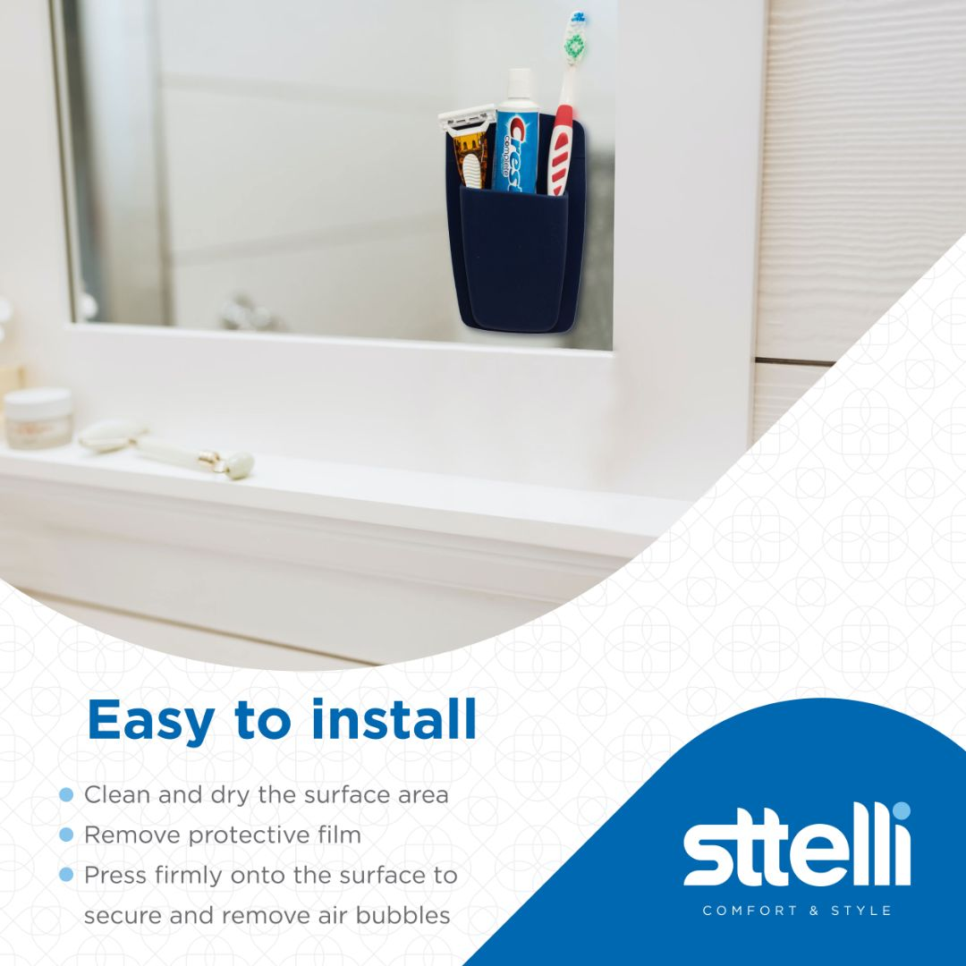 Sttelli Silicone Bathroom Organizer - Wall Mounted Bathroom Storage - Waterproof - Easy to Clean - Set of 2 - Navy