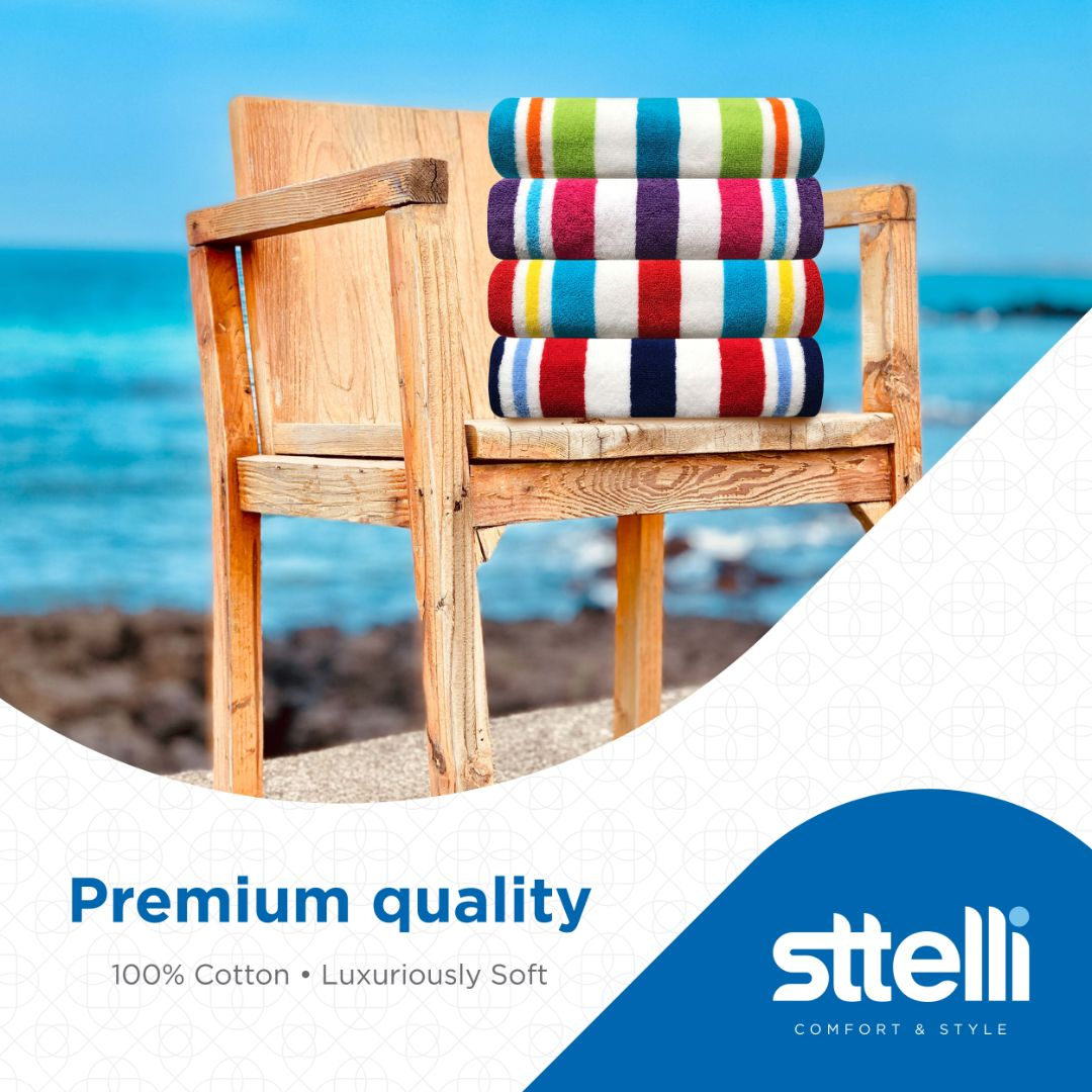 Sttelli Bayside 4-Piece Beach Towel - Durable, Soft and Absorbent - - Includes 4 Towels - Large Beach Towel: 40 x 70 Inches - Assorted Colors