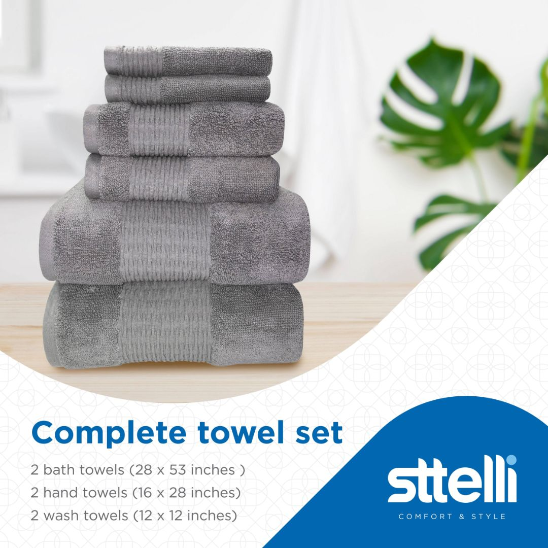 Sttelli Luna 6-Piece Bath Towel Set - Durable, Soft and Absorbent, Includes 2 Bath Towels, 2 Hand Towels, and 2 Wash Towels - Ash