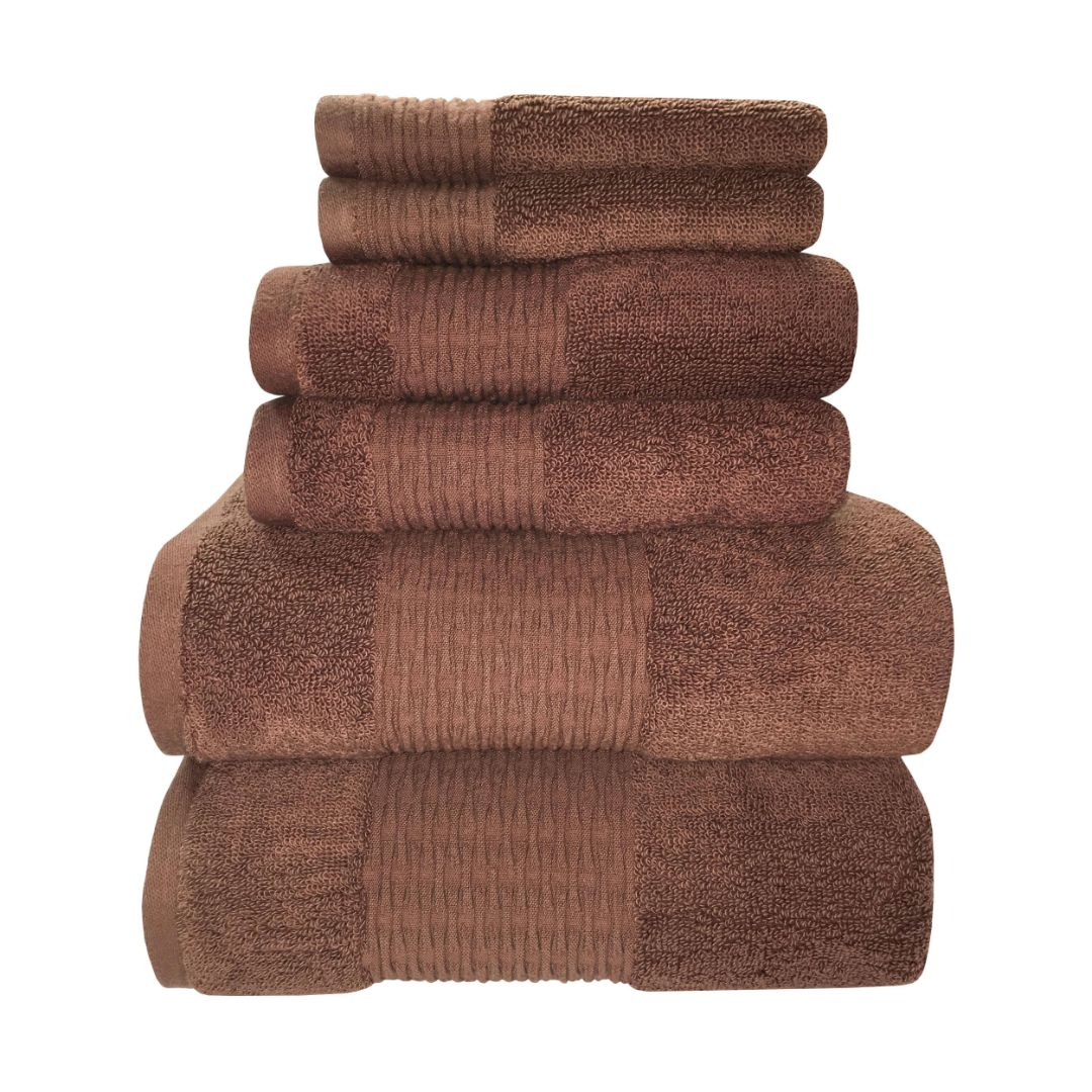 Sttelli Luna 6-Piece Bath Towel Set - Durable, Soft and Absorbent, Includes 2 Bath Towels, 2 Hand Towels, and 2 Wash Towels - Brownie