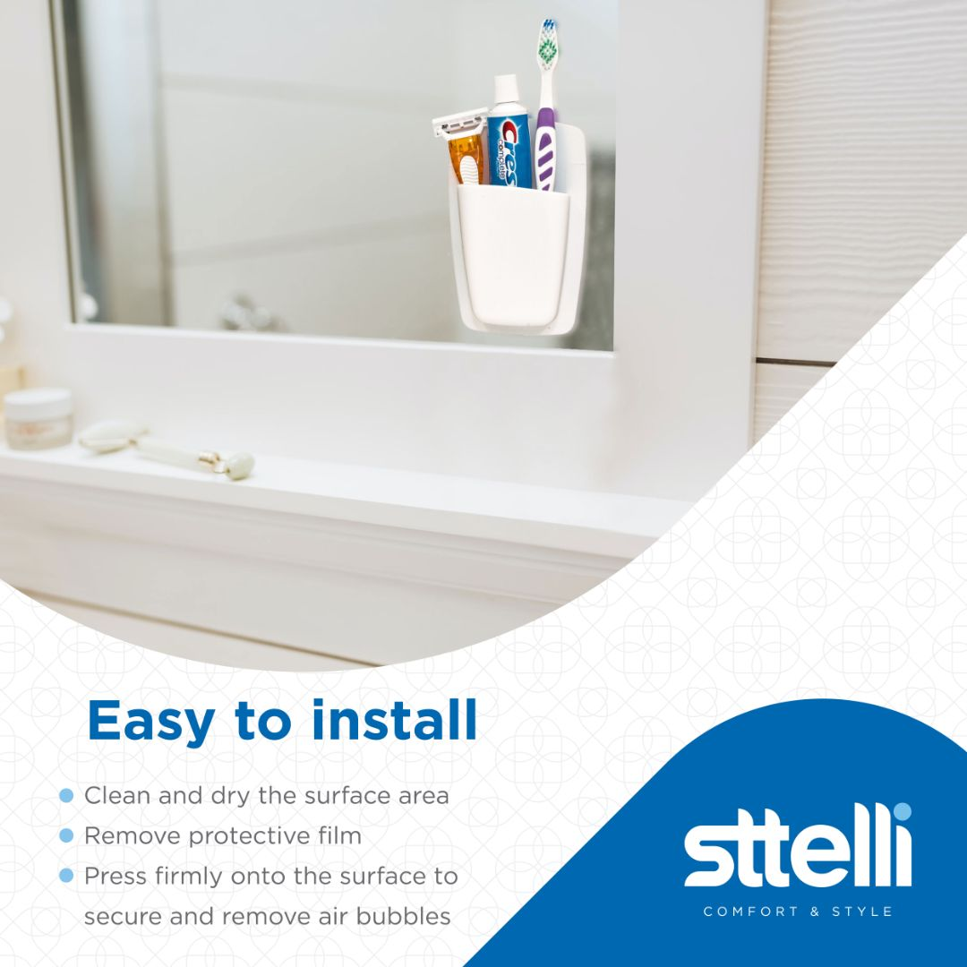 Sttelli Silicone Bathroom Organizer - Wall Mounted Bathroom Storage - Waterproof - Easy to Clean - Set of 2 - White