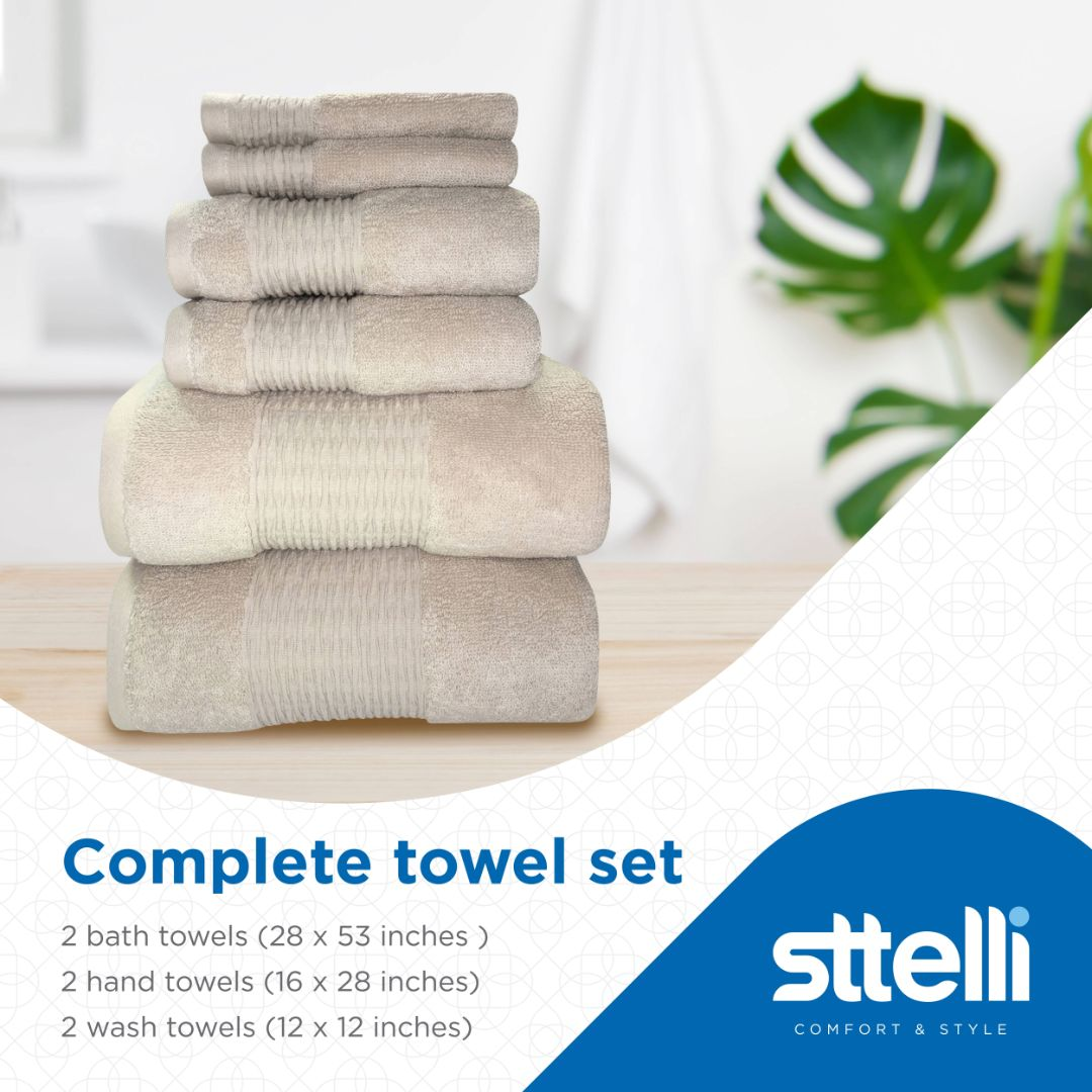 Sttelli Luna 6-Piece Bath Towel Set - Durable, Soft and Absorbent, Includes 2 Bath Towels, 2 Hand Towels, and 2 Wash Towels - Angora