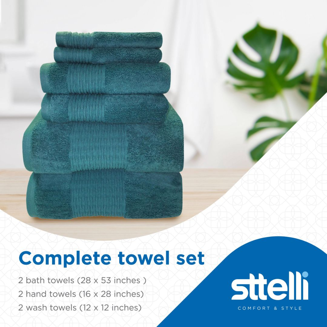 Sttelli Luna 6-Piece Bath Towel Set - Durable, Soft and Absorbent, Includes 2 Bath Towels, 2 Hand Towels, and 2 Wash Towels - Seaport