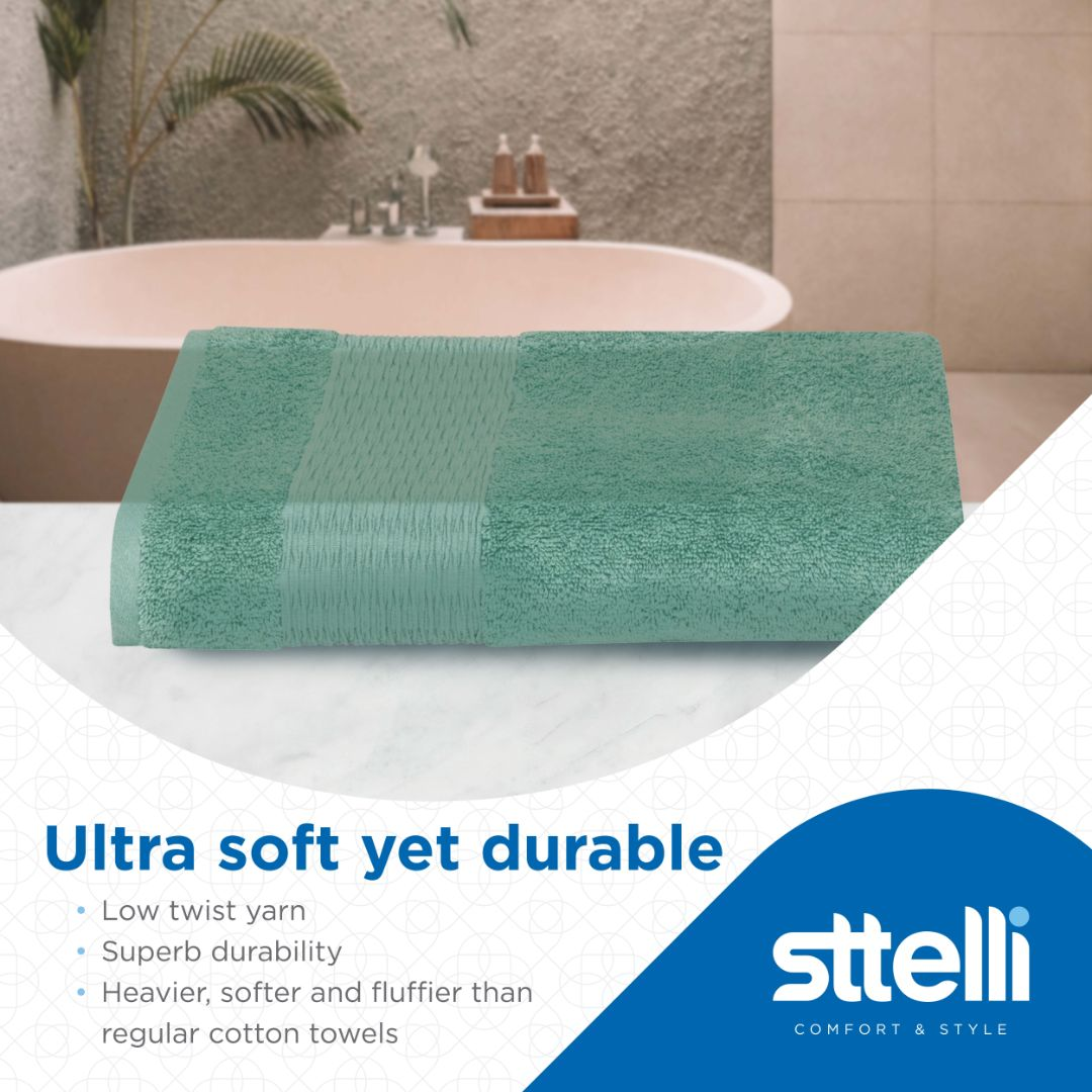 Sttelli Luna 6-Piece Bath Towel Set - Durable, Soft and Absorbent, Includes 2 Bath Towels, 2 Hand Towels, and 2 Wash Towels - Wasabi